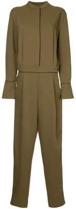 Layeur Berthewoven pleated placket jumpsuit