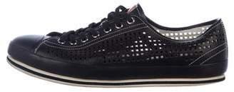 Prada Perforated Leather Cap-Toe Sneakers