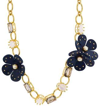 """Kate Spade Chain Leather Flower Necklace, 17"""""""
