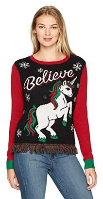 Ugly Christmas Sweater Women's Light up-Believe Pullover Sweater