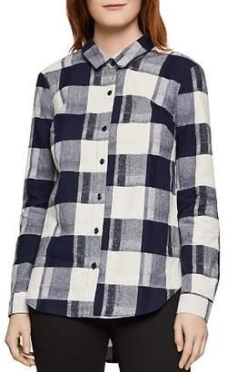 BCBGeneration Lace-Up Plaid Flannel Shirt