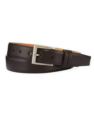 W.KLEINBERG W. Kleinberg Basic Leather Belt with Interchangeable Buckles, Brown