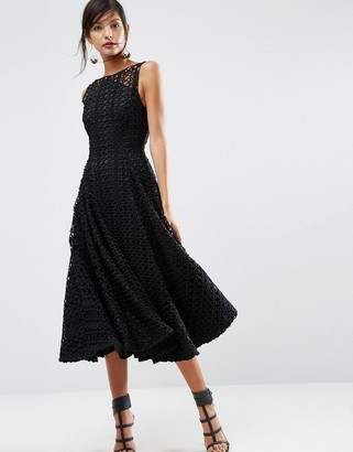 ASOS SALON Extreme Lace Bonded Black Midi Prom Dress $194 thestylecure.com