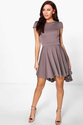 boohoo Maisie Cap Sleeve Dip Hem Skater Dress
