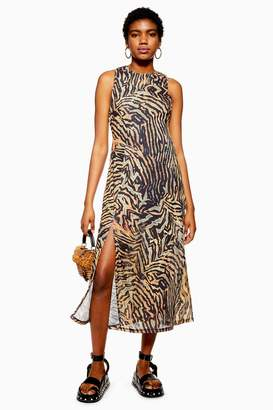 28b7d3df Topshop Womens Tall Tiger Sleeveless Mesh Dress - Multi