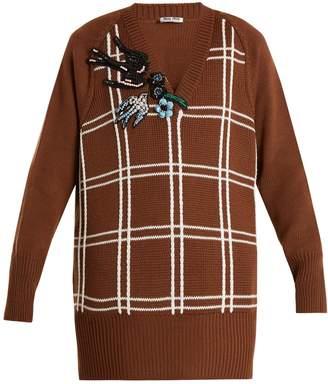 Miu Miu Embellished braid-embroidered wool sweater