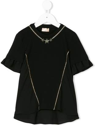 Elisabetta Franchi La Mia Bambina star embellished ruffle sleeve T-shirt