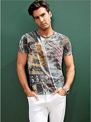 GUESS Men's Short Sleeve Space Collage Crew Neck Tee