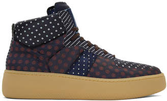 Maison Margiela Navy Mixed Print Sneakers