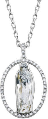 Swarovski FINE JEWELRY Womens Crystal Blessed Virgin Mary Bronze Pendant Necklace