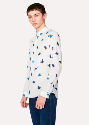 Paul Smith Men's Slim-Fit White 'Brush Strokes' Print Cotton Shirt