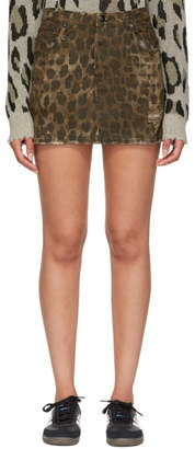 R 13 Brown Denim Leopard Miniskirt