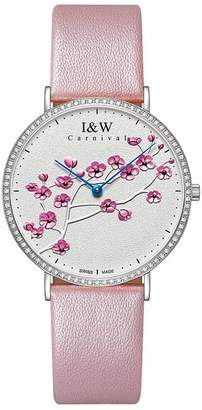 Carnival Women's Quartz Watch Extra Flat Case and Plum Pattern White Face