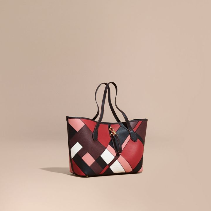 Burberry Medium Patchwork Grainy Leather Tote Bag