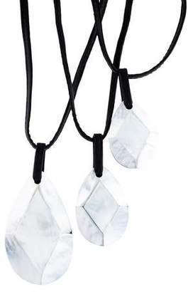 Viktoria Hayman Mother of Pearl, Resin & Leather Layered Necklace