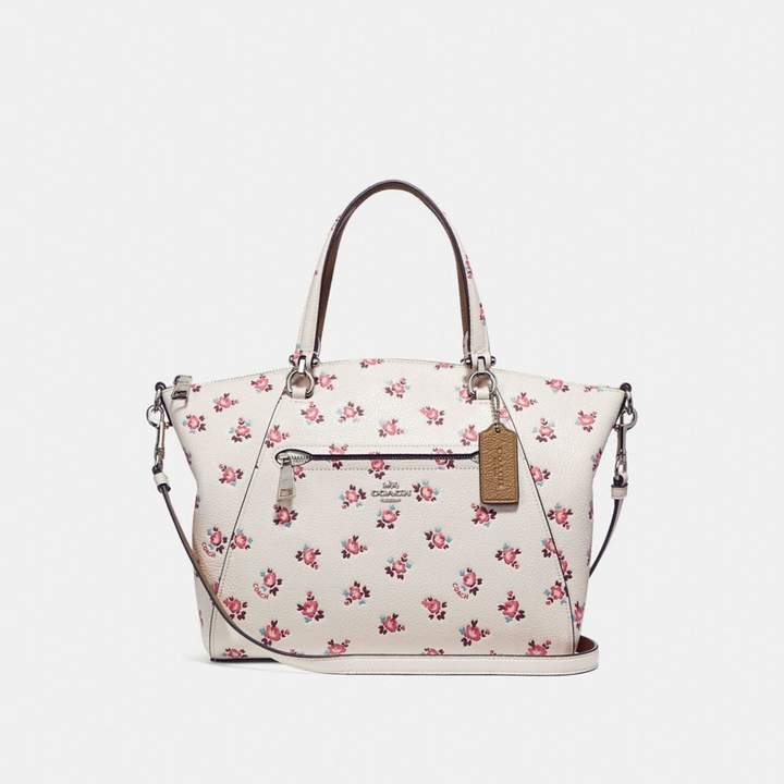 Coach Prairie Satchel With Floral Bloom Print - CHALK MULTI/SILVER - STYLE