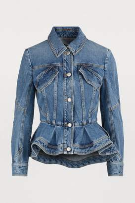 Alexander McQueen Denim peplum jacket