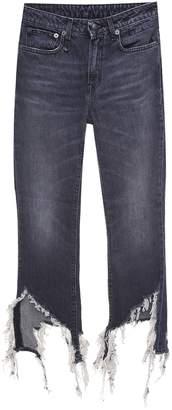 R 13 Kick Fit Distressed-denim Flared Jeans