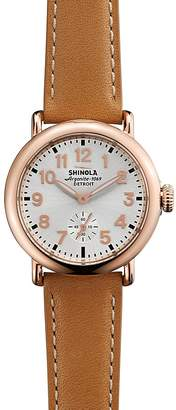 Shinola The Runwell Tan Leather Strap Watch, 36mm