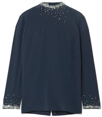 Miu Miu - Embellished Silk Crepe De Chine Blouse - Midnight blue