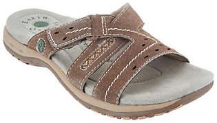 Earth Origins Suede Adjustable Slip On Sandals- Sterling