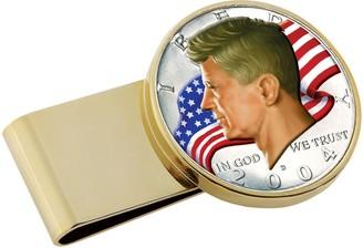 JFK American Coin Treasures Half Dollar Flag Gold Tone Stainless SteelMoney Clip