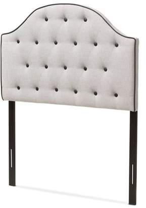 Baxton Studio Windsor Modern and Contemporary Greyish Beige Fabric Upholstered Scalloped Buttoned Twin Size Headboard