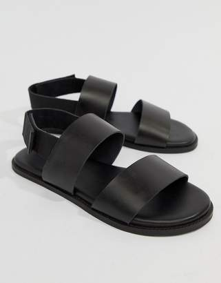 Kurt Geiger London Usher Leather Sandals In Black