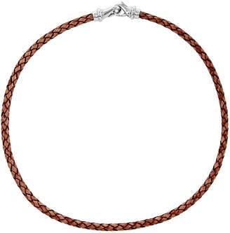 FINE JEWELRY Mens Stainless Steel & Woven Brown Leather Necklace