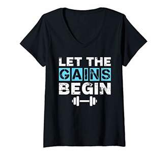 Womens Let the Gains Begin Fun Gym Work Out Weightlifting V-Neck T-Shirt