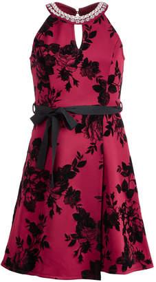 Monteau Big Girls Embellished-Neck Halter Dress