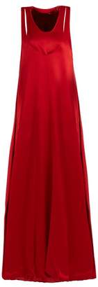 Valentino Scoop Neck Layered Satin Back Crepe Gown - Womens - Burgundy
