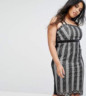 Little Mistress Plus Lace Stripe Midi Dress