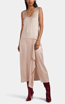 Zero Maria Cornejo Women's Puckered Satin Drop-Waist Dress - Pink