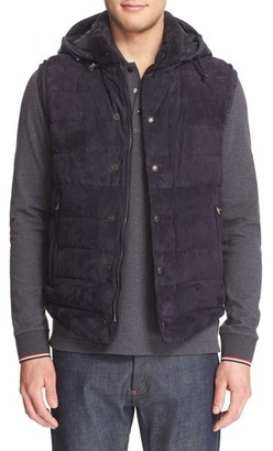 Men's Moncler Quilted Down Vest With Chamois Suede Front $2,145 thestylecure.com