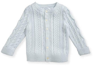 Ralph Lauren Childrenswear Soft Pearl Cotton Cable-Knit Cardigan, Blue, 6-24 Months