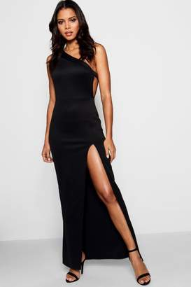 boohoo Emzy One Shoulder Split Leg Maxi Dress