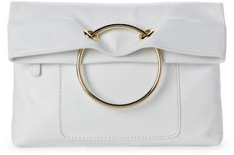 Sondra Roberts Metal Ring Leather Foldover Clutch