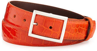 "W.KLEINBERG W. Kleinberg Glazed Alligator Belt with ""Simple Rec"" Buckle, Orange (Made to Order)"