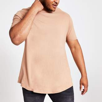 River Island Mens Big and Tall Brown curve hem T-shirt