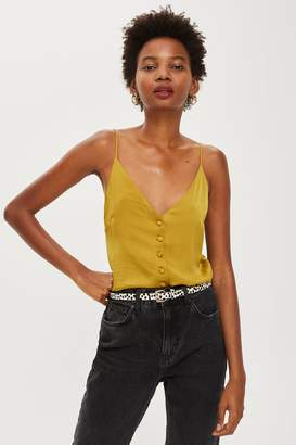 Topshop Womens Satin Button Through Cami Top - Chartreuse