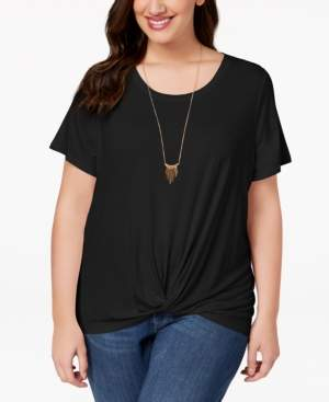 Style&Co. Style & Co Plus Size Twist High-Low Hem Top, Created for Macy's