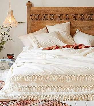 White Cotton Tassel Duvet Cover