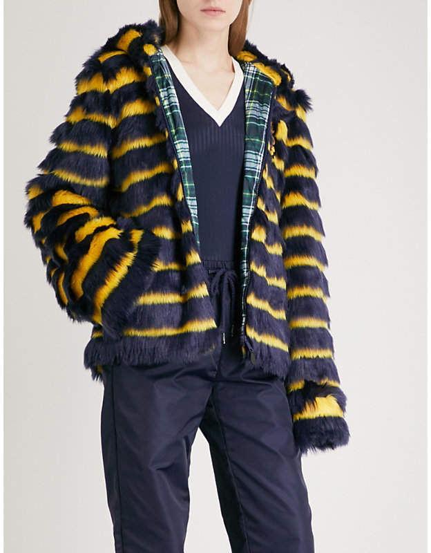 Fenty X Puma Hooded striped faux-fur jacket
