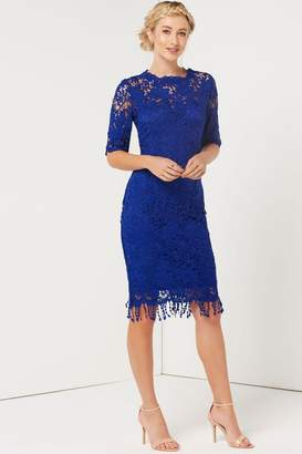 Paper Dolls Outlet Blue Crochet Tassel Hem Dress