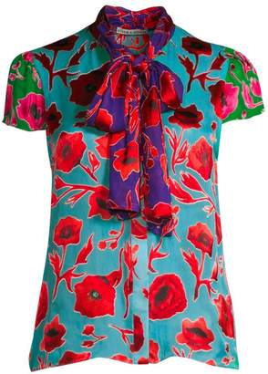Alice + Olivia Jeannie Bow Collar Print Blouse