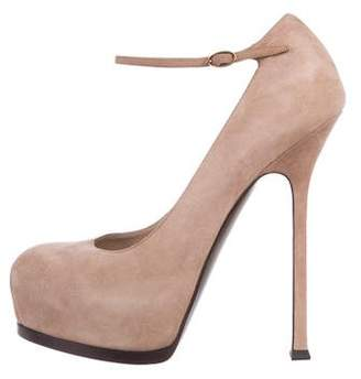 Saint Laurent Suede Round-Toe Pumps