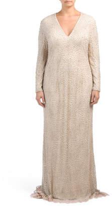 Plus Deep V Neck Column Gown