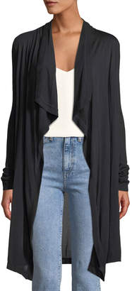 Three Dots Draped-Front Jersey Duster Cardigan