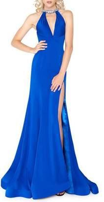 Mac Duggal Embellished Halter-Neck Keyhole Gown with High Slit